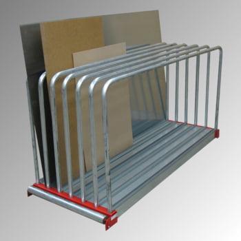 Plattenlager Regal - 9 Fächer - Fachbreite 45 mm - Fachlast 1.000 kg - 1.000 x 800 x 2.030 mm (HxBxT) - verzinkt