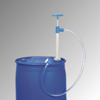 Fasspumpe mit Auslaufschlauch und Hahn - Tauchtiefe 650 mm - aus Polypropylen (PP) - für Kanister, Fässer und Tanks