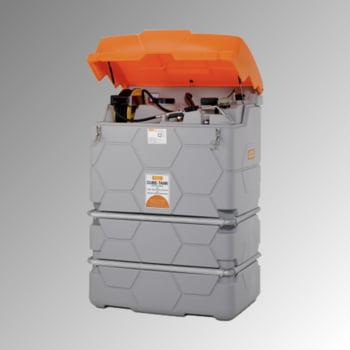 Mobile Outdoor Schmierstoff Tankanlage mit Deckel - Tankstation mit Schlauchaufroller und Zapfpistole - Volumen 1.500 l