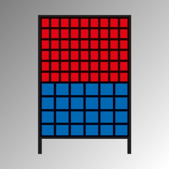 Stationäres Regal mit Sichtlagerkästen einseitig - 78 Kästen - flexibles Stecksystem - robust und kippsicher - 1.510 x 1.010 x 400 mm (HxBxT)