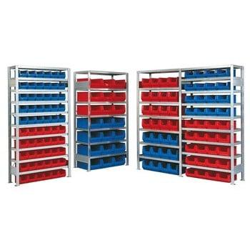 Robustes Regalsystem für Sichtlagerkästen - Anbaufeld mit 36 Kästen - Sortimentsregal - Sichtlagerboxen - 2.000 x 1.005 x 425 mm (HxBxT)