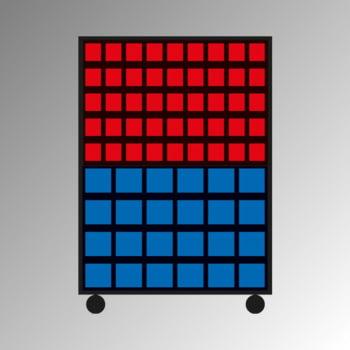 Mobiles Regal mit Sichtlagerkästen beidseitig - 138 Kästen - flexibles Stecksystem, robust und kippsicher - 1.450 x 1.010 x 540 mm (HxBxT)