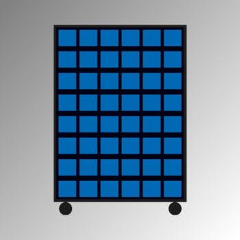 Mobiles Regal mit Sichtlagerkästen beidseitig - 84 Kästen - flexibles Stecksystem, robust und kippsicher - 1.450 x 1.010 x 540 mm (HxBxT)