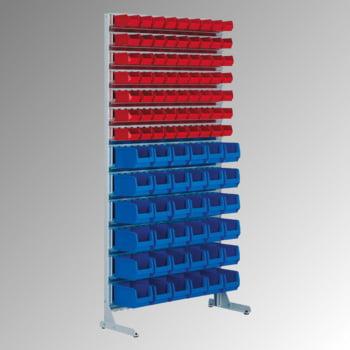 Stationäres Regal mit Sichtlagerkästen einseitig - 108 Kästen - flexibles Stecksystem - robust und kippsicher - 1.510 x 1.010 x 400 mm (HxBxT) online kaufen - Verwendung 2