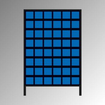 Stationäres Regal mit Sichtlagerkästen einseitig - 48 Kästen - flexibles Stecksystem - robust und kippsicher - 1.510 x 1.010 x 400 mm (HxBxT)