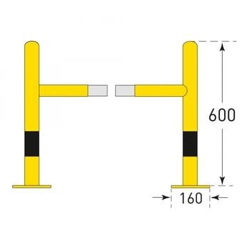 Säulen Rammschutz - Höhe 600 mm - quadratisch - Breite / Tiefe 720 mm - kunststoffbeschichtet - gelb / schwarz online kaufen - Verwendung 3