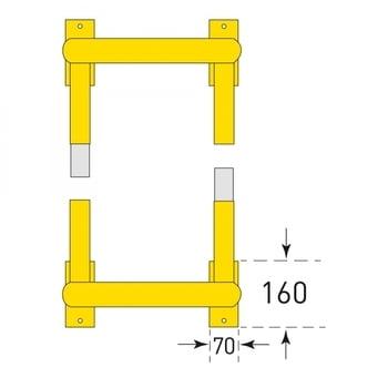 Säulen Rammschutz - Höhe 600 mm - quadratisch - Breite / Tiefe 720 mm - kunststoffbeschichtet - gelb / schwarz online kaufen - Verwendung 4