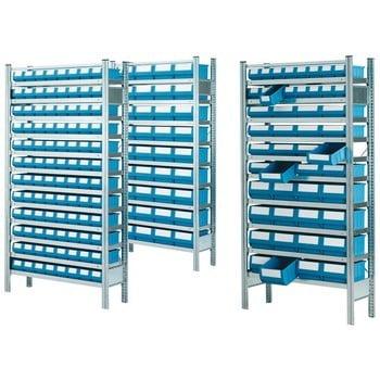 Profi Ordnungsregal - Systemregal - Anbaufeld mit 10 Fachböden und 48 Regalkästen - 2.000 x 1.005 x 325 mm (HxBxT)