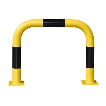 Rammschutz-Bügel Outdoor, Anfahrschutz aus Gütestahl, hochbelastbar, 600 mm Höhe, 750 mm Breite, feuerverzinkt und gelb kunststoffbeschichtet