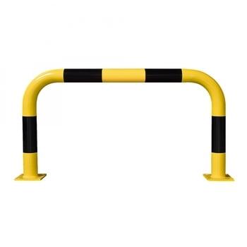 Rammschutz-Bügel Outdoor, Anfahrschutz aus Gütestahl, hochbelastbar, 600 mm Höhe, 1.000 mm Breite, feuerverzinkt und gelb kunststoffbeschichtet