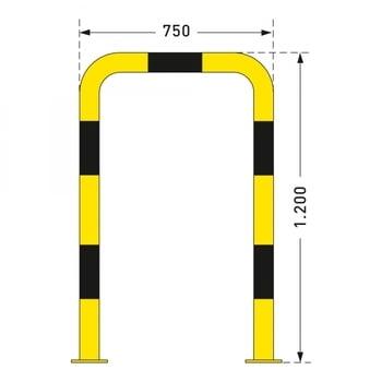 Rammschutz-Bügel Outdoor, Anfahrschutz aus Gütestahl, hochbelastbar, 1.200 mm Höhe, 750 mm Breite, feuerverzinkt und gelb kunststoffbeschichtet