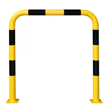 Rammschutz-Bügel Outdoor, Anfahrschutz aus Gütestahl, hochbelastbar, 1.200 mm Höhe, 1.000 mm Breite, feuerverzinkt und gelb kunststoffbeschichtet
