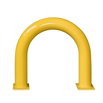 Extra starker Rammschutz-Bügel, Outdoor, Anfahrschutz aus Gütestahl, 600 mm Höhe, 650 mm Breite, feuerverzinkt und gelb kunststoffbeschichtet