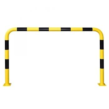 Rammschutz-Bügel Outdoor, Anfahrschutz aus Gütestahl, hochbelastbar, 1.200 mm Höhe, 2.000 mm Breite, feuerverzinkt und gelb kunststoffbeschichtet