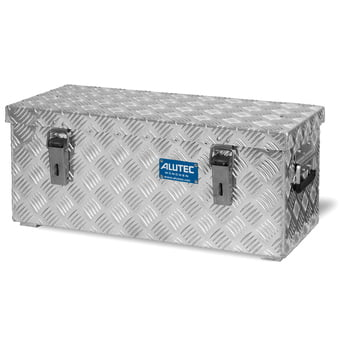 Riffelblech Aluminiumbox - Aluminiumbehälter - Transportbehälter - Griffe und Verschlüsse aus Edelstahl - 37 l Vol. - 270 x 622 x 275 mm (HxBxT)