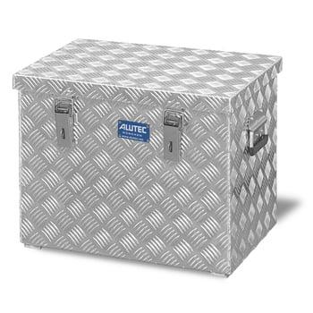 Riffelblech Aluminiumbox - Aluminiumbehälter - Transportbehälter - Griffe und Verschlüsse aus Edelstahl - 70 l Vol. - 420 x 522 x 375 mm (HxBxT)