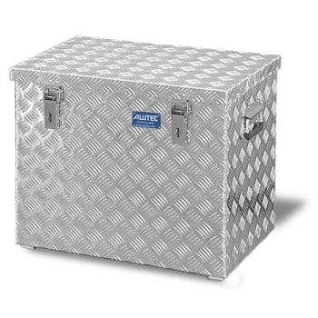 Riffelblech Aluminiumbox - Aluminiumbehälter - Transportbehälter - Griffe und Verschlüsse aus Edelstahl - 120 l Vol. - 520 x 622 x 425 mm (HxBxT)