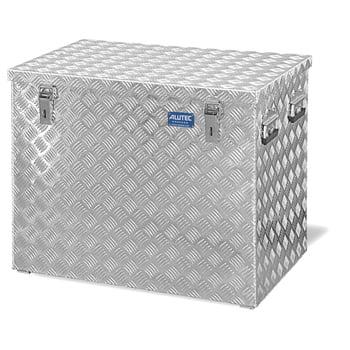 Riffelblech Aluminiumbox - Aluminiumbehälter - Transportbehälter - Griffe und Verschlüsse aus Edelstahl - 234 l Vol. - 645 x 772 x 525 mm (HxBxT)