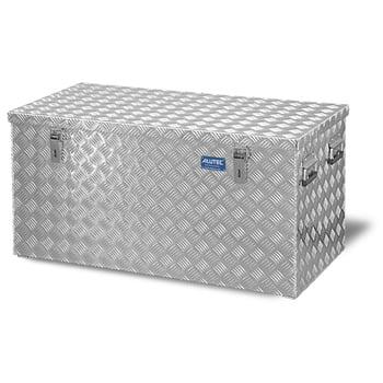 Riffelblech Aluminiumbox - Transportbehälter - Deckel Gasdruckdämpfer - Griffe und Verschlüsse aus Edelstahl - 250 l Vol. - 520 x 1.022 x 525 mm