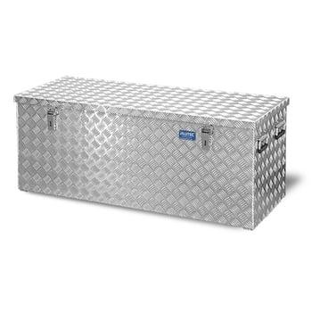 Riffelblech Aluminiumbox - Transportbehälter - Deckel Gasdruckdämpfer - Griffe und Verschlüsse aus Edelstahl - 312 l Vol. - 520 x 1.272 x 525 mm