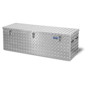 Riffelblech Aluminiumbox - Transportbehälter - Deckel Gasdruckdämpfer - Griffe und Verschlüsse aus Edelstahl - 375 l Vol. - 520 x 1.522 x 525 mm
