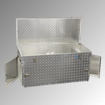 Riffelblech Aluminiumbox - Deckel mit Gasdruckdämpfer - Griffe und Verschlüsse aus Edelstahl - mit seitlichen Türen - Volumen 883 Liter