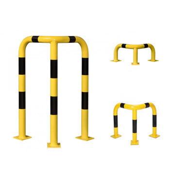 Eck Rammschutz-Bügel Indoor, Anfahrschutz aus Gütestahl, hochbelastbar, 600 mm Breite/Tiefe, Höhe 350 mm, gelb kunststoffbeschichtet