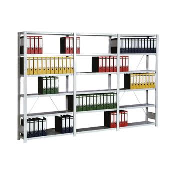 Büroregal m. Tiefenriegel - 2.325 x 1.341 x 626 mm - 7 Böden - verzinkt - Grundregal