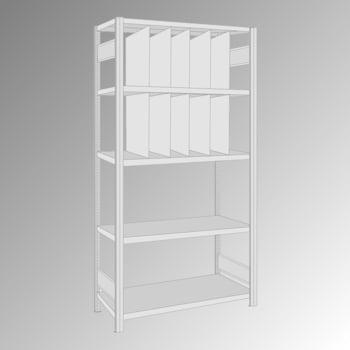 Fachbodenregal - 150 kg - 5 Fachböden - 10 Stecktrennwände - 2.000 x 1.005 x 500 mm (HxBxT) - Grundregal - verzinkt
