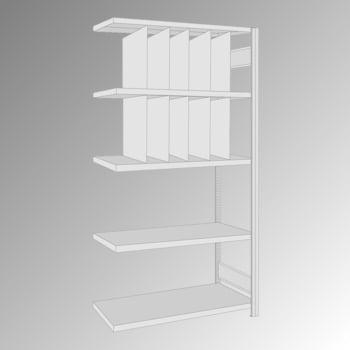 Fachbodenregal - 150 kg - 5 Fachböden - 10 Stecktrennwände - 2.000 x 1.005 x 500 mm (HxBxT) - Anbauregal - verzinkt