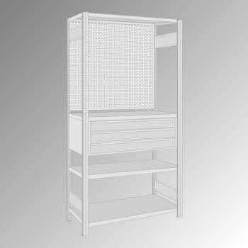 Fachbodenregal mit Lochwand - 150 kg - 4 Fachböden - 3 Schubladen - 2.000 x 1.005 x 500 mm (HxBxT) - Grundregal - verzinkt