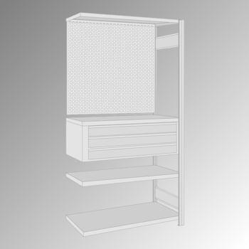 Fachbodenregal mit Lochwand - 150 kg - 4 Fachböden - 3 Schubladen - 2.000 x 1.005 x 500 mm (HxBxT) - Anbauregal - verzinkt