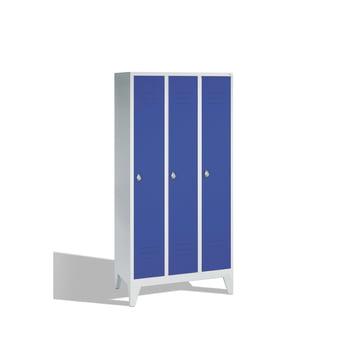 Stahl-Garderobenschrank, Umkleide, Spindschrank mit Füßen, 3 Abteile je 300 mm, Türfarbe enzianblau (RAL 5010), 1.850 x 900 x 500 mm (HxBxT) online kaufen - Verwendung 0