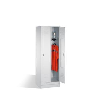 Stahl-Garderobenschrank, Umkleide, Spindschrank mit Sockel, 1 Abteil 300 mm, Türfarbe lichtgrau (RAL 7035), 1800 x 320 x 500 mm (HxBxT)