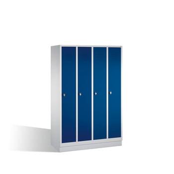 Stahl-Garderobenschrank, Umkleide, Spindschrank mit Sockel, 4 Abteile je 300 mm, Türfarbe enzianblau (RAL 5010), 1800 x 1.190 x 500 mm (HxBxT)