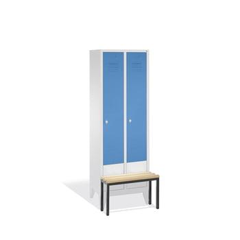 Stahl-Garderobenschrank, Umkleide, Spindschrank, Sitzbank vorgeb., 2 Abteile je 400 mm, Türfarbe lichtblau (RAL 5012), 1850 x 810 x 815 mm (HxBxT) online kaufen - Verwendung 0