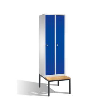 Stahl-Garderobenschrank, Umkleide, Spindschrank, Sitzbank untergeb., 1 Abteil 300 mm, Türfarbe enzianblau (RAL 5010), 2.090 x 320 x 815 mm (HxBxT) online kaufen - Verwendung 0