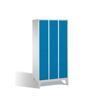 Spindschrank, Schließfächer, Wertsachenschrank auf Füßen, 16 Fächer (4 x 4) je 300 mm, Türfarbe lichtblau, 1.850 x 1.190 x 500 mm (HxBxT)
