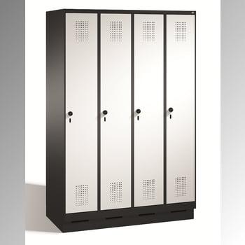 Garderobenschrank, Spindschrank, Umkleide mit Sockel, 4 Abteile je 400 mm, Türfarbe rubinrot, Korpusfarbe lichtgrau, 1.800 x 1.600 x 500 mm (HxBxT)