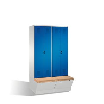 Garderobenschrank, Umkleide, Sitzbank m. Staufach, Doppeltüren, 4 Abteile je 400 mm, Farbe lichtgrau, Türen enzianblau, 2.090 x 1.600 x 815 mm (HxBxT) online kaufen - Verwendung 0