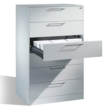 Hängeregistratur, Hängeregisterschrank, Aktenschrank, Büroschrank, DIN A5, 3 Auszüge, 6-bahnig, Farbe lichtgrau, 1.298 x 800 x 600 mm (HxBxT)