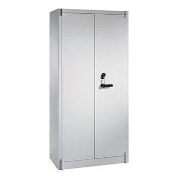 Feuergeschützter Büroschrank, Aktenschrank, Klasse A1, DIN 4102, 4 Fachböden, Korpus lichtgrau, Türen lichtgrau, 1.950 x 930 x 500 mm (HxBxT)