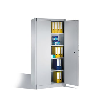 Feuergeschützter Büroschrank, Aktenschrank, Klasse A1, DIN 4102, 4 Fachböden, Korpus lichtgrau, Türen lichtgrau, 1.950 x 930 x 500 mm (HxBxT) online kaufen - Verwendung 2