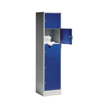 Schließfachschrank, Wertfachschrank, Spindschrank, 5 Fächer (5 x 1), Korpus lichtgrau, Türfarbe enzianblau, 1.950 x 460 x 480 mm (HxBxT)