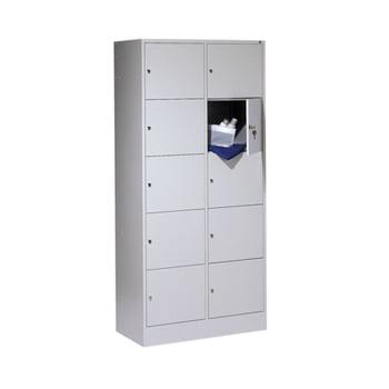 Schließfachschrank, Wertfachschrank, Spindschrank, 10 Fächer (5 x 2), Korpus lichtgrau, Türfarbe enzianblau, 1.950 x 900 x 480 mm (HxBxT)