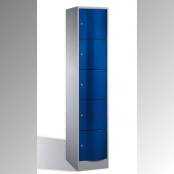Wertfachschrank, Schließfachschrank, vandalismussicher, Stahl, Zylinderschloss, 5 Fächer (5 x 1), Türfarbe lichtgrau, 1.950 x 396 x 540 mm (HxBxT)