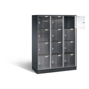 Schließfachschrank, Fächerschrank mit Türen aus Acrylglas, 12 Fächer (4 x 3), Farbe schwarzgrau, 1.750 x 1.220 x 500 mm (HxBxT), mit Zylinderschloss