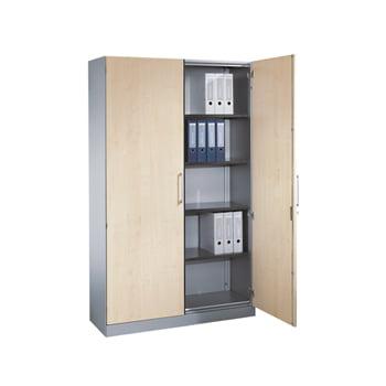 Stahl-Büroschrank, Aktenschrank, Ordnerschrank mit Flügeltüren, 4 Fachböden, Korpusfarbe weißaluminium, Türen Esche, 1.980 x 1.200 x 435 mm (HxBxT)