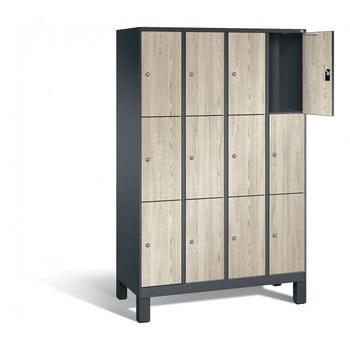 Schließfachschrank, Fächerschrank, Spindschrank, 12 Fächer (3 x 4) a 300 mm, Farbe lichtgrau, Türen Holzdekor Esche, 1.850 x 1.600 x 500 mm (HxBxT)