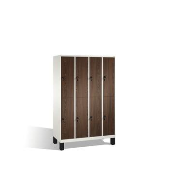 Schließfachschrank, Fächerschrank, Spindschrank, 8 Fächer (2 x 4) a 300 mm, Farbe schwarzgrau, Türen Holzdekor Esche, 1.850 x 1.200 x 500 mm (HxBxT) online kaufen - Verwendung 0